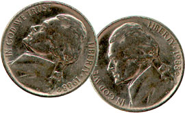 Double Sided Coin - Nickel - Head