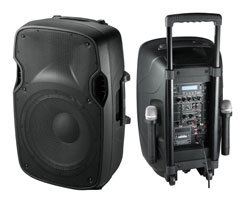 "Portable PA System, 12"" speaker, Dual Wireless Mic"