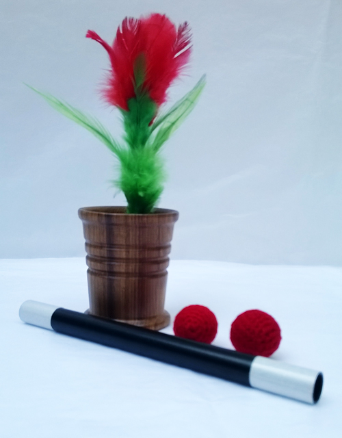 Chop Cup, Wood w/ Feather Flower